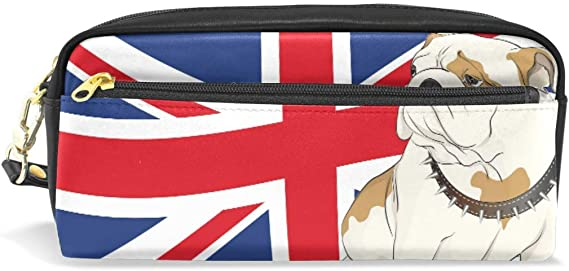 Pencil Case,English Bulldog On A Background of The British Flag Printed Travel Small Pen Bag Makeup Pouch Waterproof PU 2 Compartments Best Gift for Kids Children Girls Boys: Amazon.es: Belleza