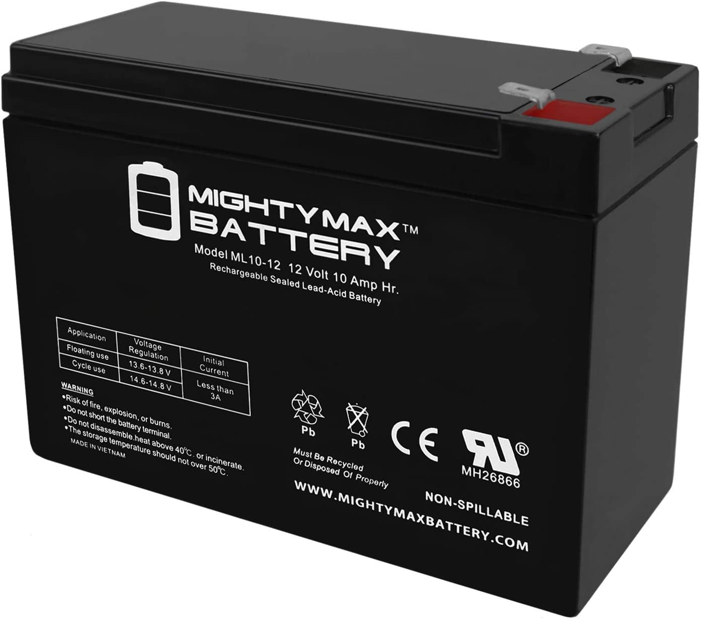 Mighty Max Battery ML10-12 - 12V 10AH 26058 CB10-12 CE5 CE6 MA 2.0 Lawn Mower Battery Brand Product