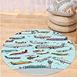 VROSELV Custom carpetAirplane Decor Planes Fying in Air Aviation Love Airport Helicopters and Jets Cartoon for Bedroom Living Room Dorm Multicolor Round 79 inches