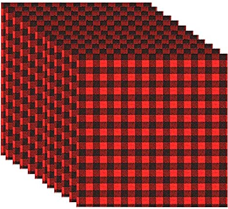 12 Sheets 12 x 12 Inch Christmas Buffalo Plaid Heat Transfer Vinyl Fabric Clothing Patches Vinyl Sheets Flannel Adhesive Iron on Vinyl for Clothes Red and Black, Black and White