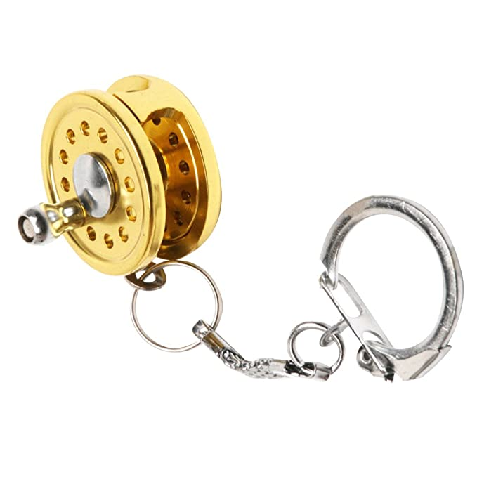 Sharplace Mini Llavero de Forma Carrete Pesca Mosca Spinning Carrete Miniatura Anillo de Color Oro - 9cm