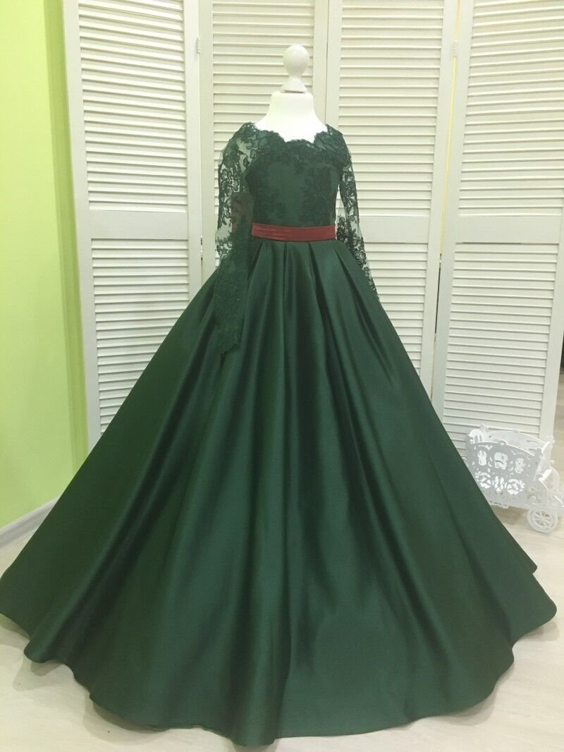 Banfvting Dark Green Girls Pageant Dress With Bow Lace Sleeves by Banfvting (Image #3)