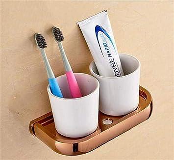NAERFB Cuarto de baño de Estilo Europeo - Porta Cepillo de Dientes Enjuague bucal Cobre Oro