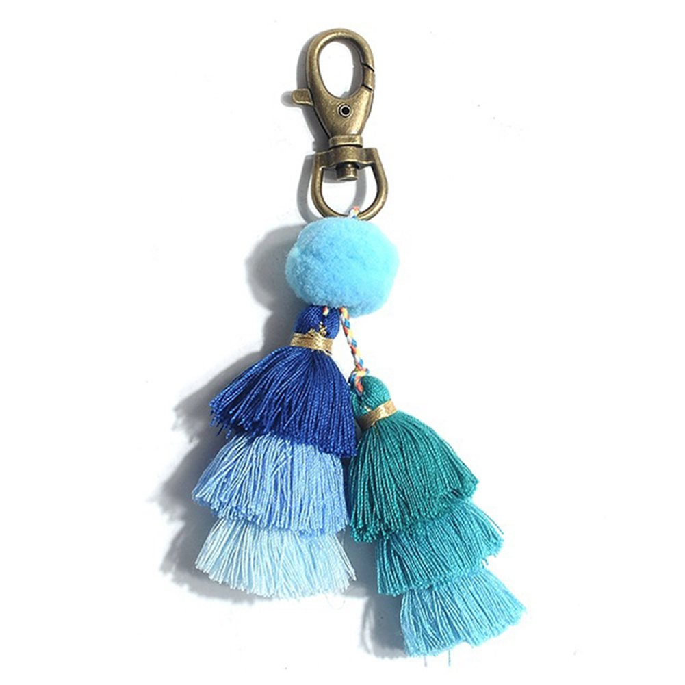 Pom pom key chains boho bag charm tassel key ring blue key holder for women