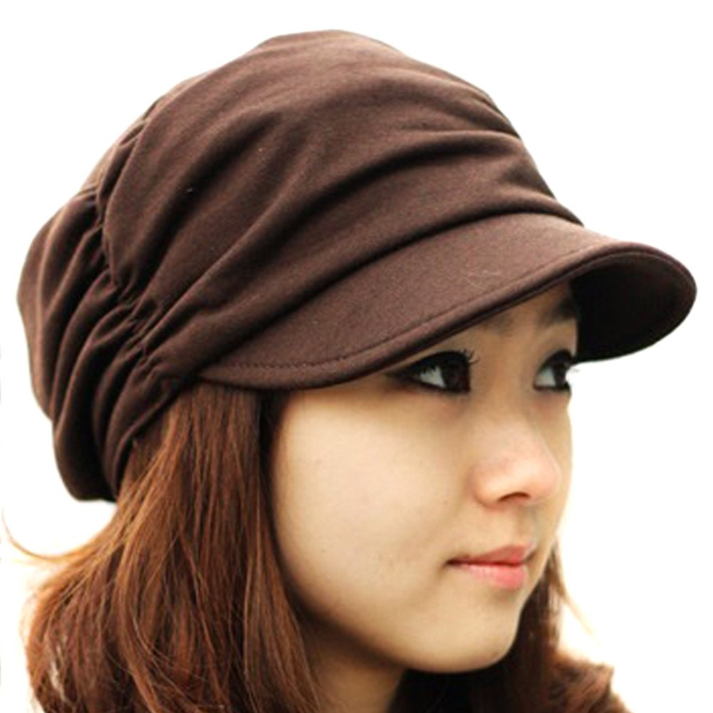 LOCOMO Women Girl Fashion Design Drape Layers Beanie Rib Hat Brim Visor Cap FFH010BRN Brown