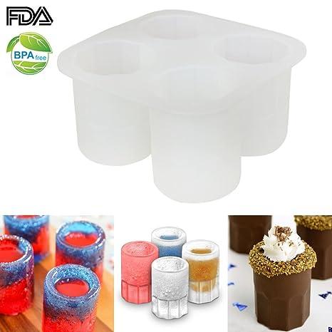 Ecoart Molde de silicona, para vaso de hielo, chupito, pastel, chocolate,