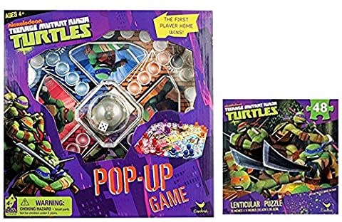 TMNT Game Night Bundle: Best Licensed Nickelodeon Teenage Mutant Ninja Turtles Pop Up Game and 1 Lenticular 48 Pcs 3D Puzzle (Cheap Special Effects Makeup)