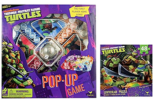 April Oneil Ninja Turtle Costume (TMNT Game Night Bundle: Best Licensed Nickelodeon Teenage Mutant Ninja Turtles Pop Up Game and 1 Lenticular 48 Pcs 3D Puzzle Set)
