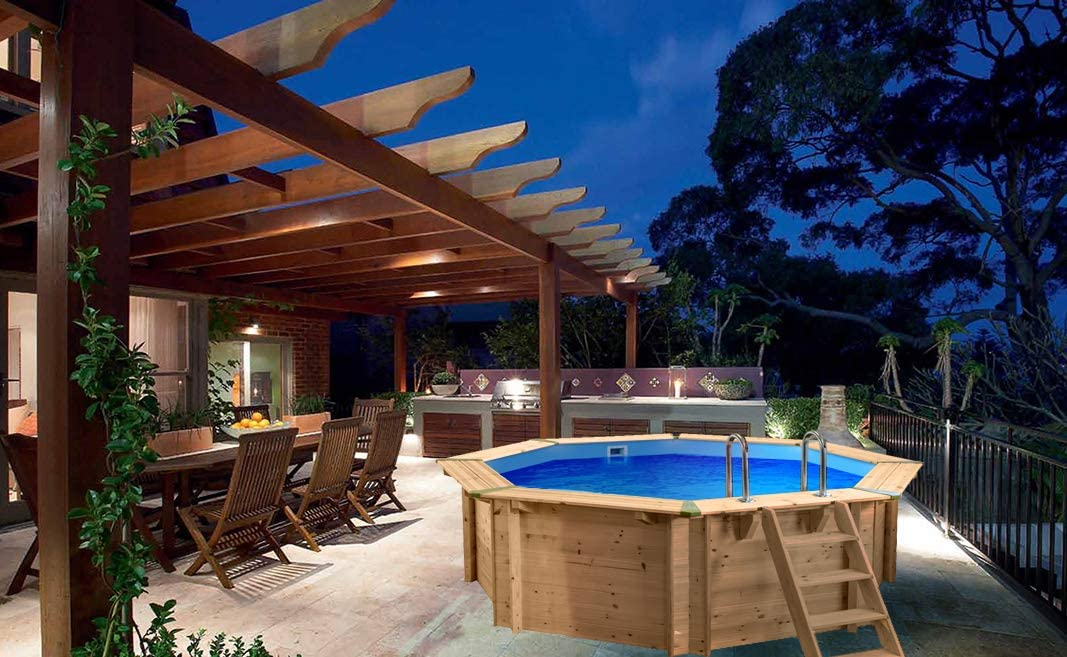 SL247 Luxus Redondo Pool de Madera I Piscina Sobre Suelo 355 cm Diámetro I 116 cm de Profundidad I Piscina Juego Completo Incluye Arena Filte rpume y Filtro Balls: Amazon.es: Jardín