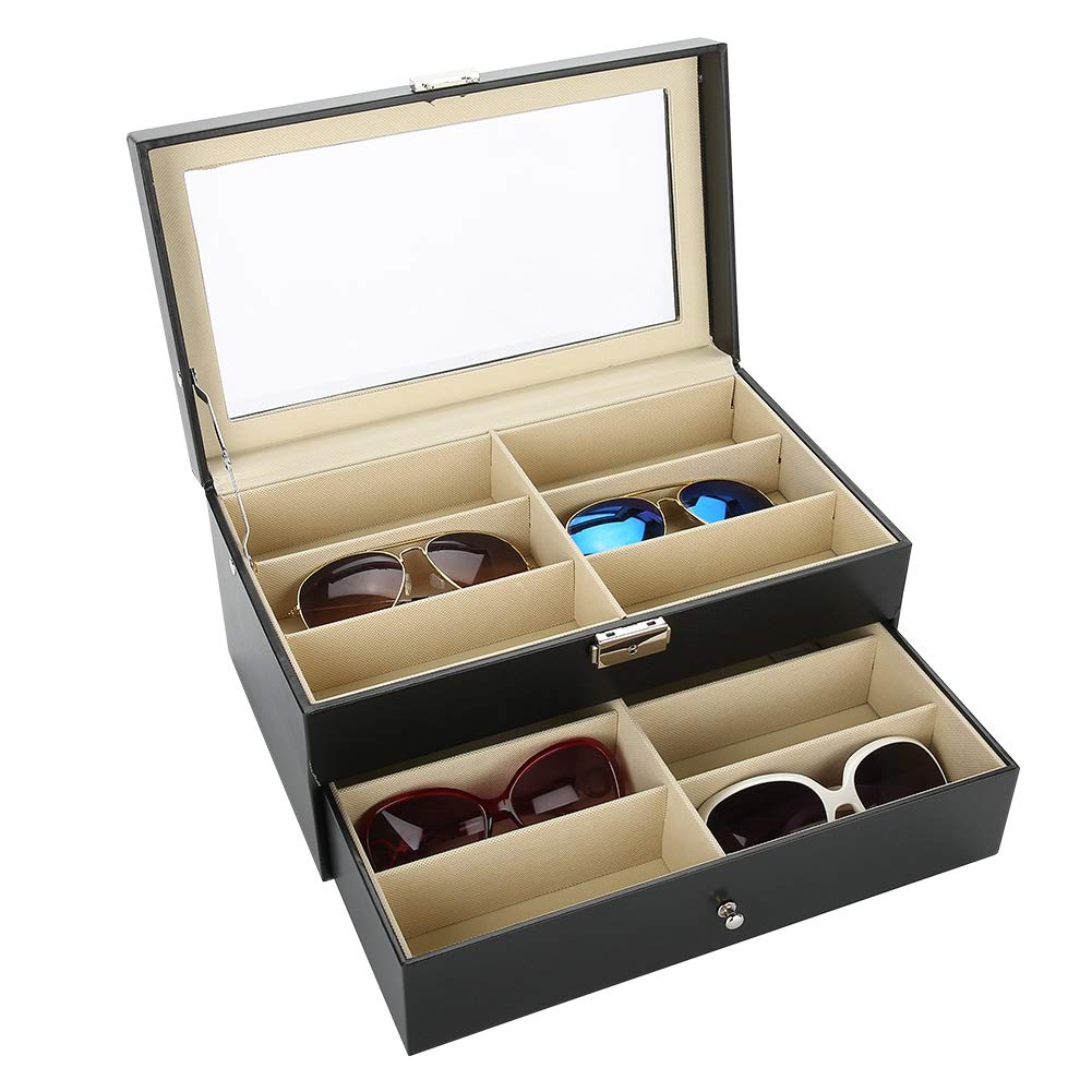12 Grids Double Layer Sunglasses Storage Box, Pu Jewelry Display, für Glasses Jewelry Display