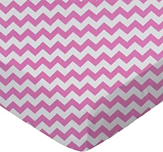 product image for SheetWorld Fitted Sheet (Fits BabyBjorn Travel Crib Light) - Bubble Gum Pink Chevron Zigzag - Made In USA
