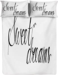 Sweet Dreams Fitted Sheet Twin XL Size,Modern Calligraphy Inscription by Hand Positive Mood Politeness Theme Fitted Sheet Set 3 Piece,1 Fitted Sheet & 2 Pillow Cases,15