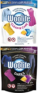 Woolite Clean & Care and Darks Pacs, Laundry Detergent Pacs, 30 Count, for Standard and HE Washers