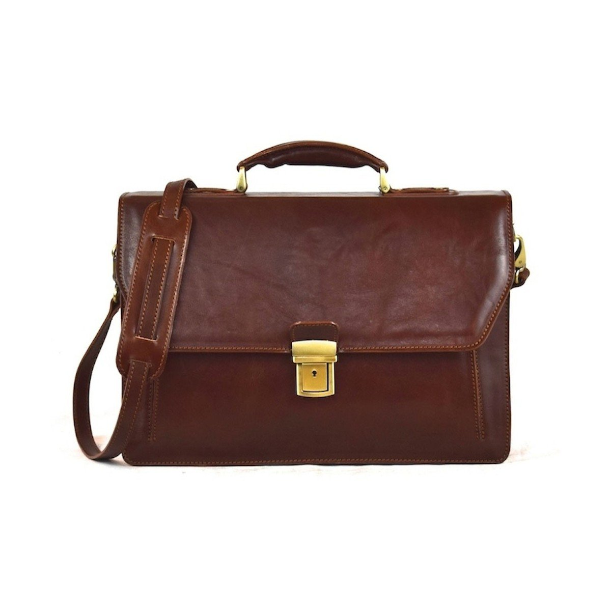 Made In Italy Business Leather Bag- Amadriadi Color Brown - Business Bag B018W370TU