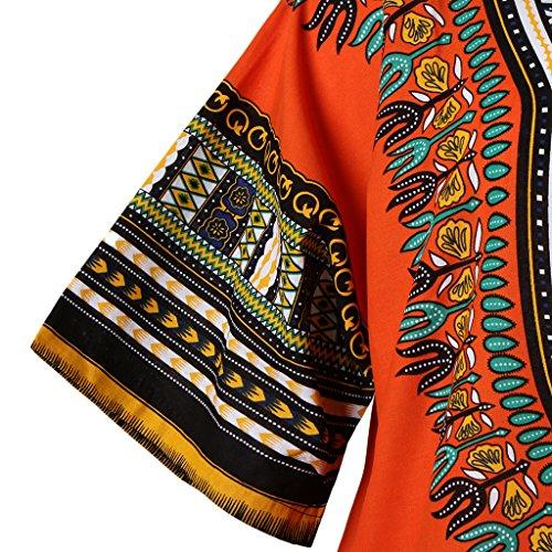 Stampe Cappotto T Arancia Camicie Di Etnico shirt Blesiya Cotone Africane 1fORRw