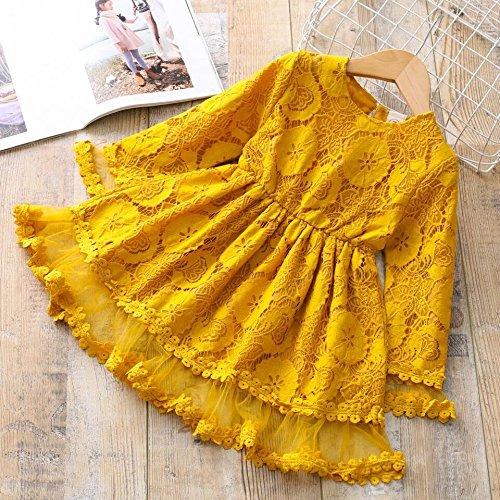 XIU*RONG Los Niños Vestidos Vestido De Niña Princesa De Encaje Falda Falda De Muñeca yellow