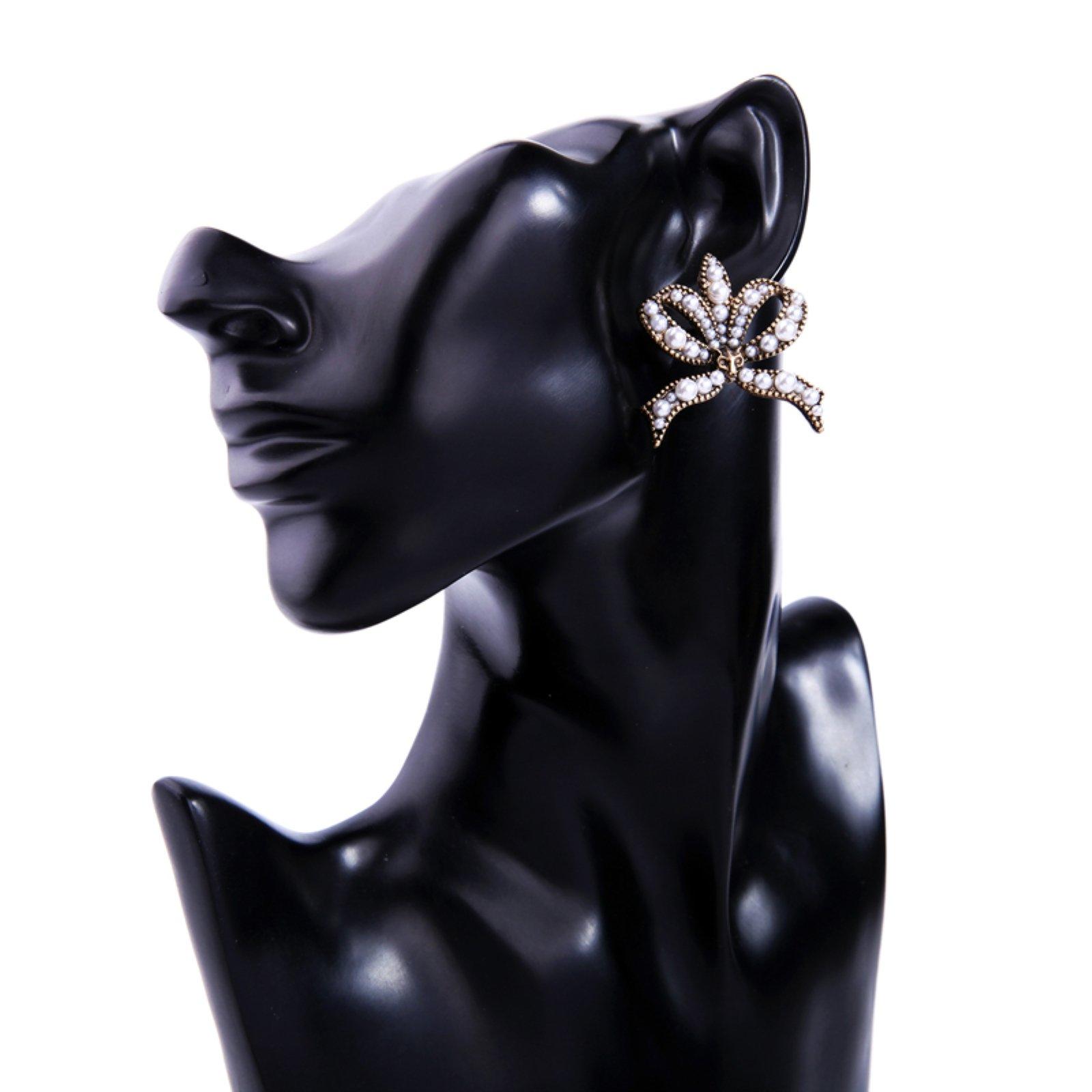 ptk12 Simulated Pearl Bowknot Earrings Fashion Jewelry Fox Animal Design Vintage Big Stud Earrings Wholesale