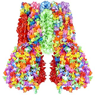 Wall2Wall Mega Luau Leis 50 Pack Hawaiian Theme Multi Colorful Tropical Summer Floral Necklace Simulated Silk Lei, Party & Wedding Favors (50)