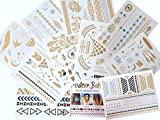 10 Sheets Modern Boho Metallic Tattoos Flash Gold/Silver Ultimate Collection