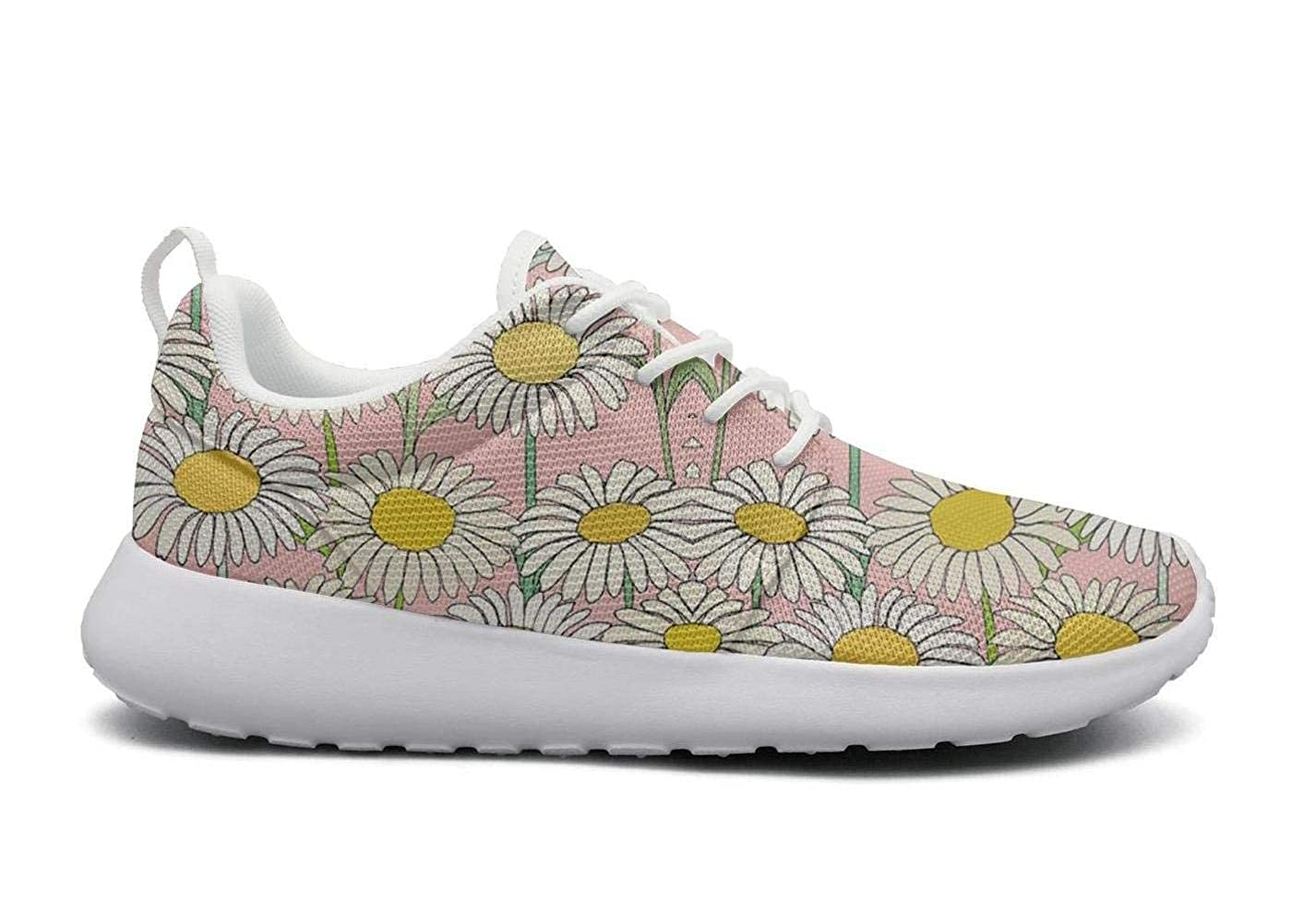 Comfort Woman Lightweight Mesh Shoes Seamless Sunflower Floral Sneakers Workout Lace-Up