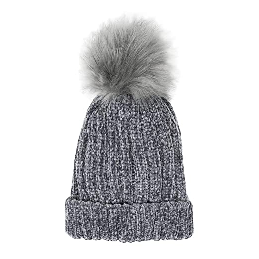 8f1010926b9 Me Plus Headwear Cable Knit Beanie Faux Fur Pompom with Plush Lining - Soft Chunky  Beanie
