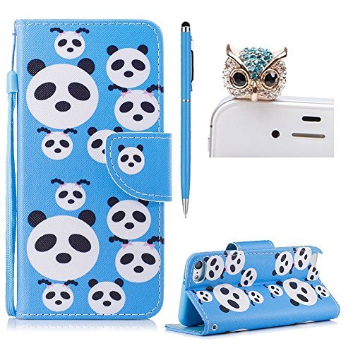 For iPod Touch 5 Flip Wallet Leather Case,For iPod Touch 6 Cute Pattern Design Case,SKYXD Pandas Painted PU Leather Flip Fold with Card Holder Magnetic Closure Protective Case for iPod Touch 5/Touch 6