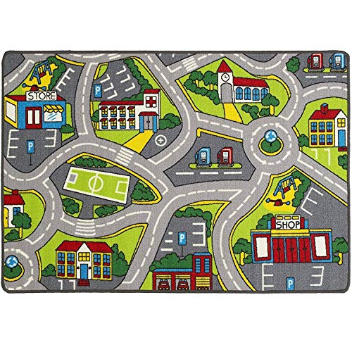 (Learning Carpets City Life Play Carpet 5' x 7' New Kids Rugs Great for Playing with Cars & Toys - Play Safe (Street map # 4) & Have Fun -Ideal Gift for Children Baby Bedroom Play Room Game Play Mat)