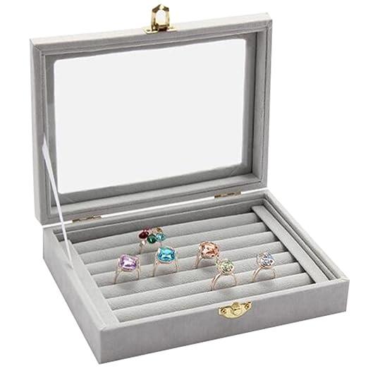58b2a9b31593 Canank Joyero para Pendientes y Anillos Exhibición Caja Joyero Caja de  almacenamiento (gray)  Amazon.es  Hogar