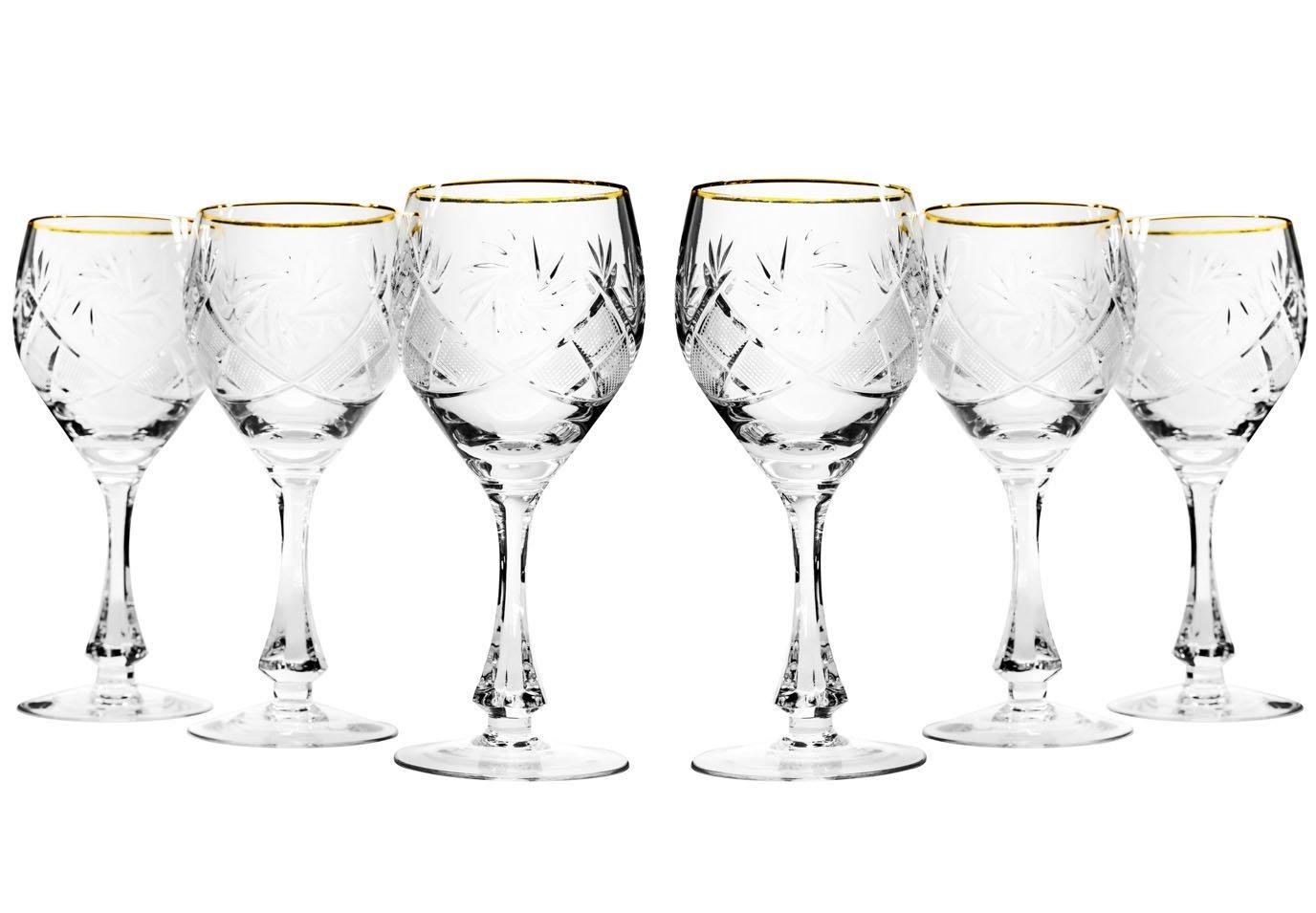 Set of 6 Neman Glassworks, 10-Oz Vintage Russian Crystal Gold Rim Cognac Snifters