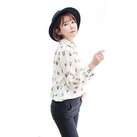 Malloom® Mujer Chica manga larga blusa moda gasa collar buho de impresión camiseta tops (