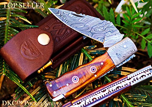 ++DKC-35 STALLION Damascus 4.5′ Folded 8 Open 6.8 oz Pocket Folding Knife DKC Knives ™ Hand Made Incredible Look and Feel