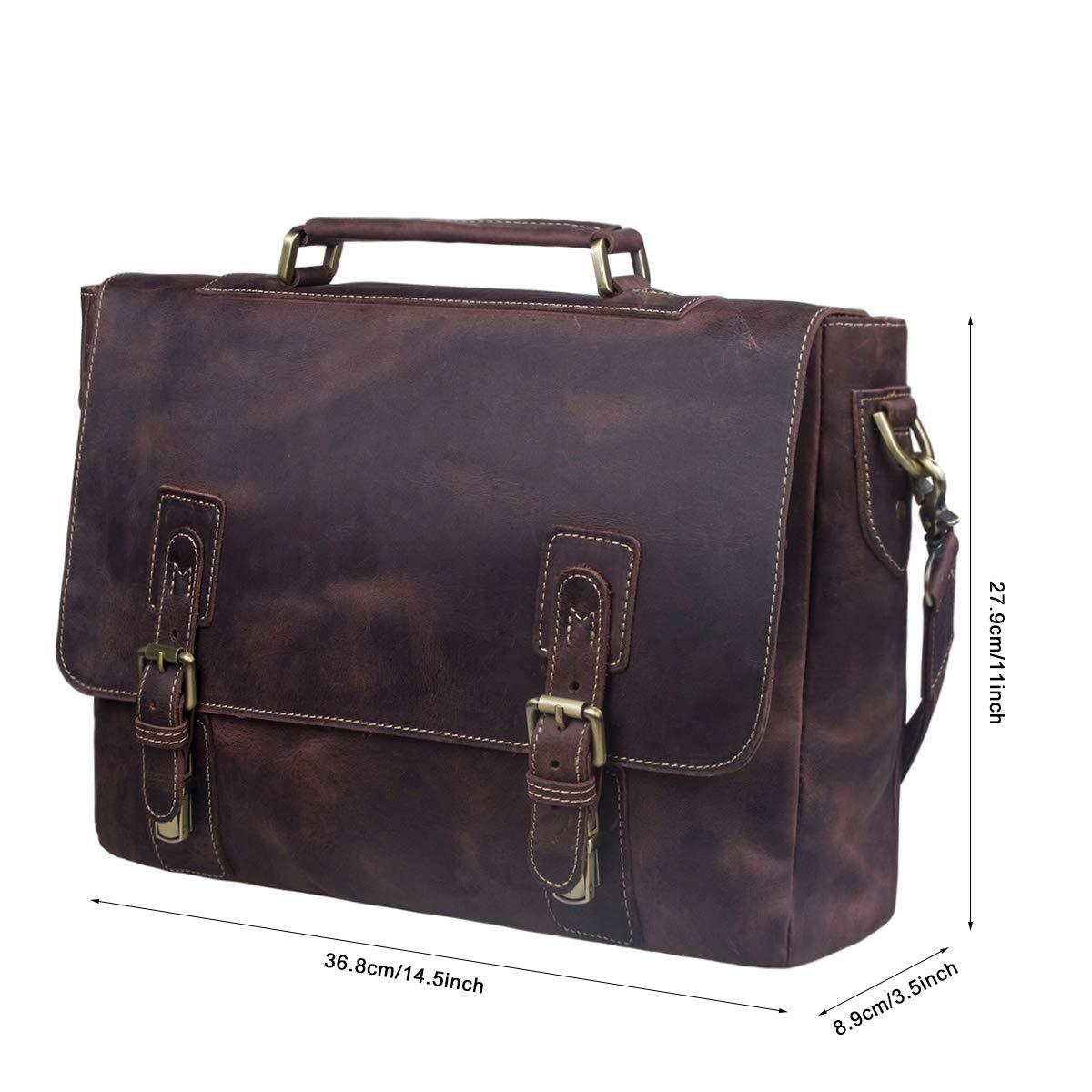 S-ZONE Men's Crazy Horse Leather Satchel Briefcase Shoulder Bag Messenger Bag 14'' Laptop Tote Bag by S-ZONE (Image #7)
