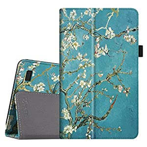 Fintie Folio Case for All-New Amazon Fire 7 Tablet (7th Generation, 2017 Release) - Slim Fit PU Leather Standing Protective Cover Auto Wake / Sleep, compatible with Fire 7 (5th Gen, 2015), Blossom
