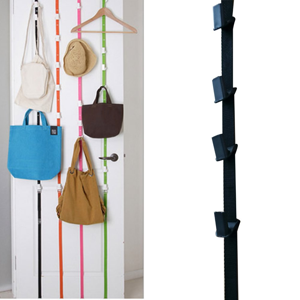 iEFiEL 1pc Door Holder Strap with Rack Hooks Organizer for Clothes Hats Bags