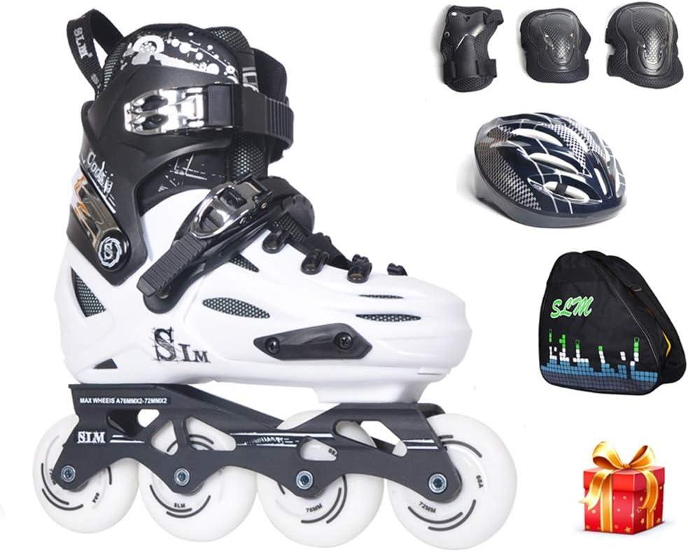 プロの1列スケート靴、スポーツの男性と女性フラット滑りやすい4輪プーリーの靴、プロのローラースケート、 (色 : 白, サイズ さいず : Adjustable (35-39)) 白 Adjustable (35-39)