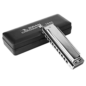Anwenk Harmonica Chromatic Harmonica Key of C 10 Hole 40 Tone with Case for Professional Player Adult Beginner Students, Excellent Gift for Music Fan (Swan)- Silver Best Music Gift (Color: Silver)