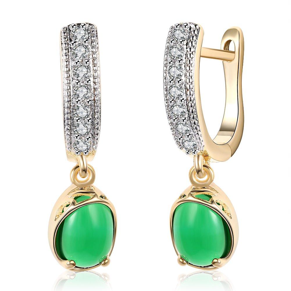 Green Gemstone Zircon Emerald Pendant Earrings by Merana