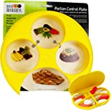 Meal Measure Portion Control - 4 Sections for easy food portioning (1, Yellow w/Pill Case)