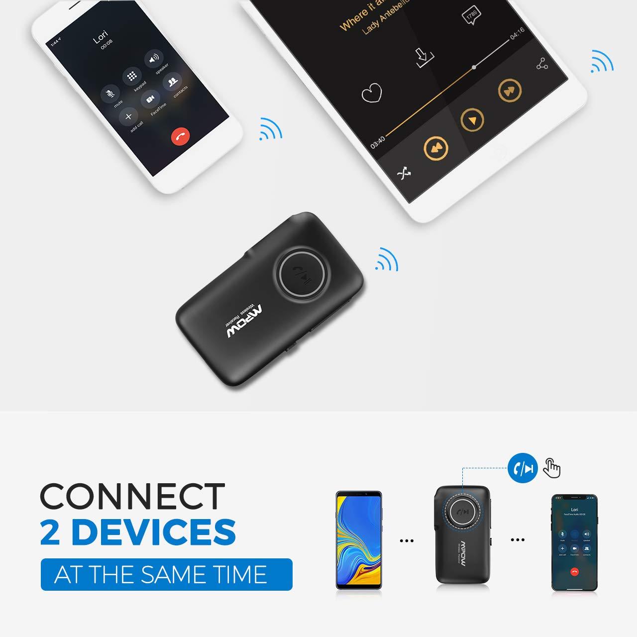 Mpow R/écepteur Bluetooth 5.0 Adaptateur Audio sans Fil 【16H Autonomie on//Off Bouton Port/ée 20m】 Kit Main Libre Voiture Deux Connexions Sortie St/ér/éo 3.5mm pour Streaming Maison//Kit Auto Voiture