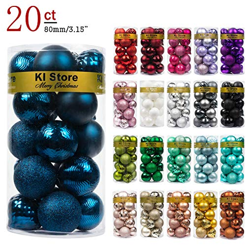 KI Store 20ct Christmas Ball Ornaments Shatterproof Christmas Decorations Large Tree Balls for Holiday Wedding Party Decoration, Tree Ornaments Hooks Included 3.15 (80mm Blue)