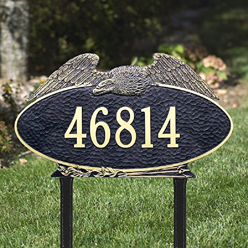 - Whitehall 1 Line Custom Oval Eagle Estate LAWN Address Plaque (24 inches Wide by 14 inches High)