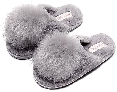 c8de7e2813e FreLO Women s Grey Plush Pom-pom Fuzzy Slippers Cute Fluffy Slippers ...