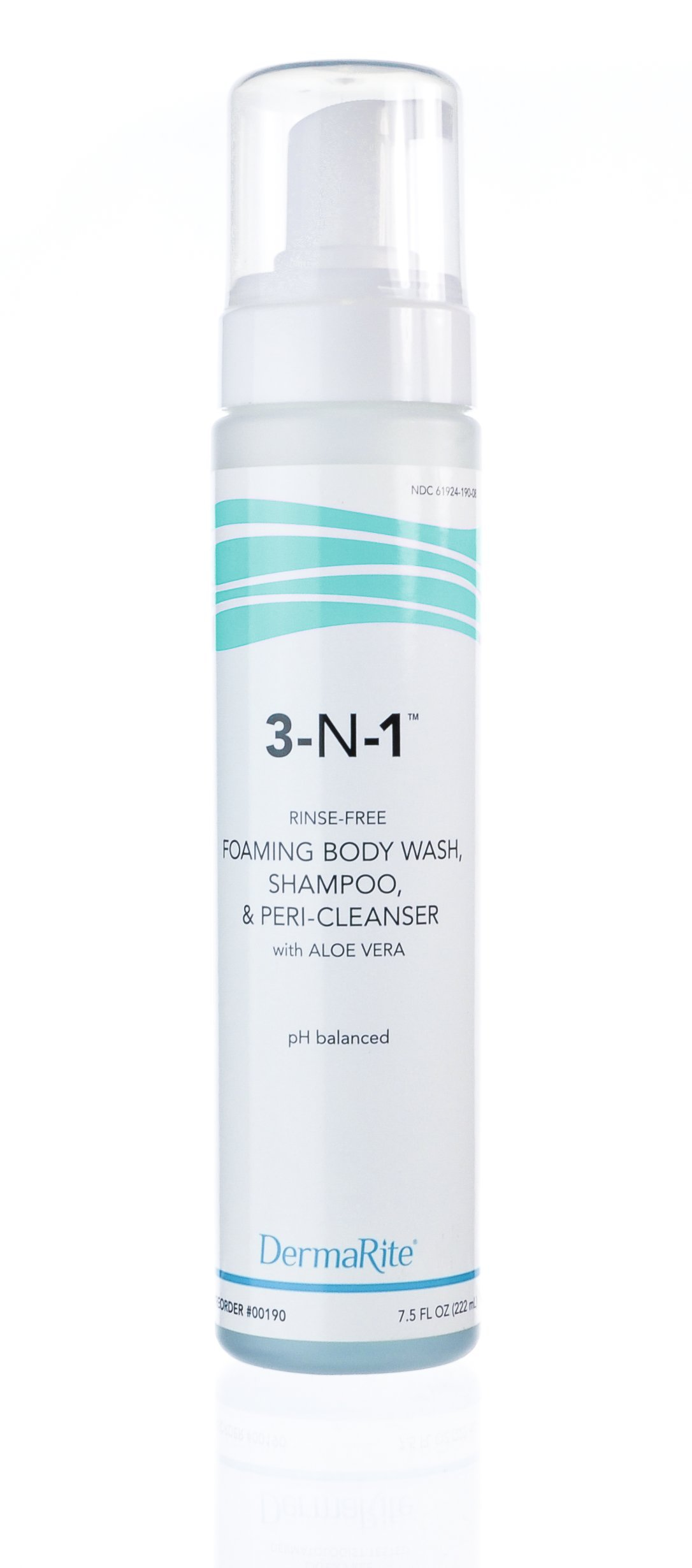 Dermarite 3-n-1 Cleansing Foam, No-Rinse, Latex-Free 7-3/4 oz
