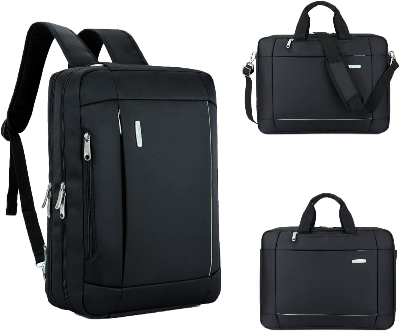 15.6 Inch Laptop Messenger Bag Multi-function Business Briefcase Waterproof Convertible Backpack for Laptop/MacBook/Tablet Black