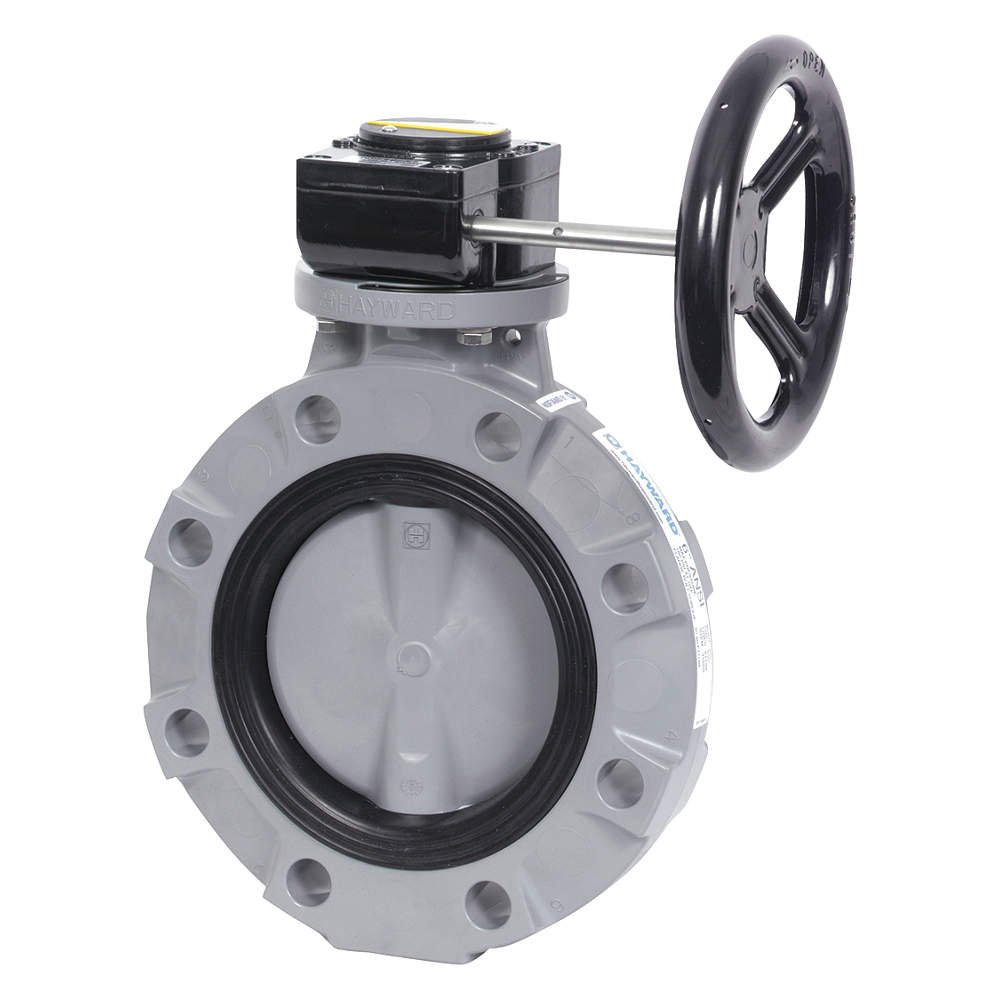 6 Size CPVC Disc Nitrile Seals CPVC Body Hayward BYV22060A0NG000 Series BYV Butterfly Valve Gear Operated