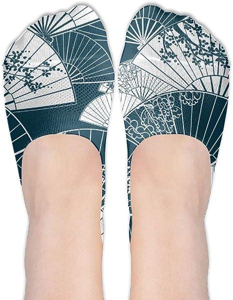 Calcetines japoneses tradicionales para pintar con diseño de abanico femenino de poliéster y algodón para botes, calcetines finos casuales de corte bajo: Amazon.es: Juguetes y juegos