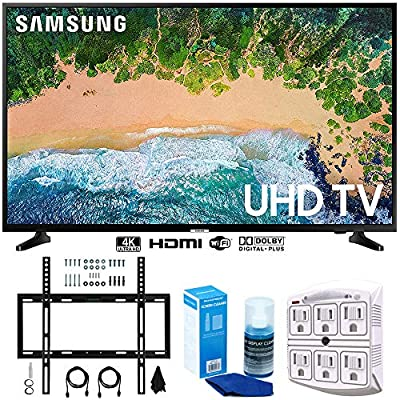 "Samsung UN55NU6900 55"" NU6900 Smart 4K UHD TV (2018) w/Wall Mount Bundle Includes, Wall Mount Kit for 45-90 inch TVs, Screen Cleaner (Large Bottle) and SurgePro 6-Outlet Surge Adapter w/Night Light"