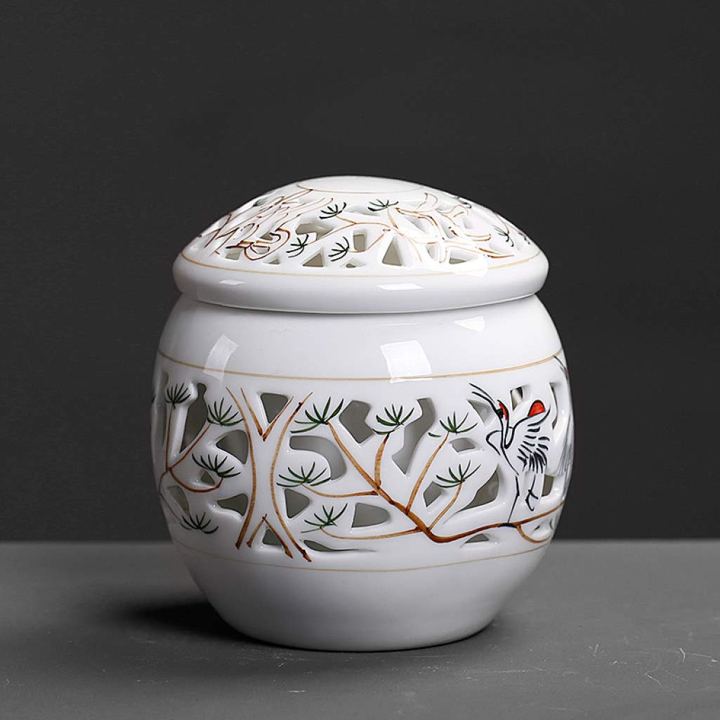 Ceramic Tea Caddy Hand Painted Hollow Tea Storage Jar Office Home Teaware Kung Fu Tea Set Accessories