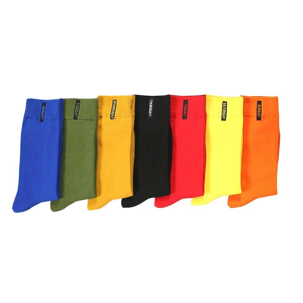Honiee Men's 7 Pack Colorful Solid Dress Socks (#1)