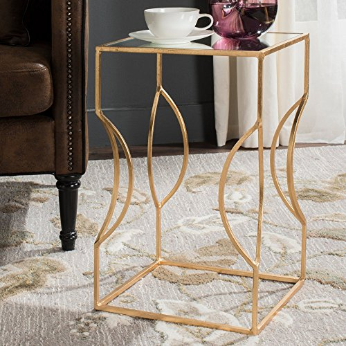 Safavieh Home Collection Vera Antique Gold Leaf End Table, Earth (Transitional Leaf Forged)